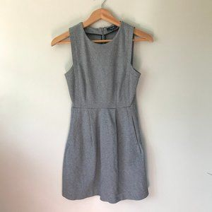 Madewell Gray Fit and Flare Sleeveless Sheath Dres
